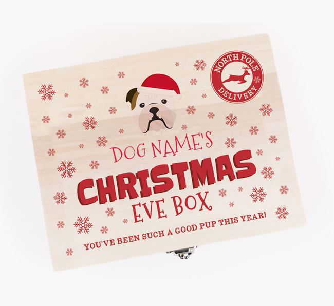 'Snowflakes' - Personalised English Bulldog Christmas Eve Box