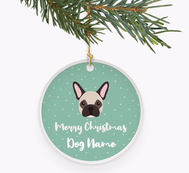 Personalised 'Merry Christmas Your Dog' Ceramic Decoration with French Bulldog Icon