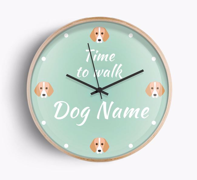 'Time To Walk Your Dog' Beech Wall Clock