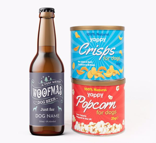 'Merry Woofmas' - Personalised Great Dane Beer Bundle with Crisps & Popcorn