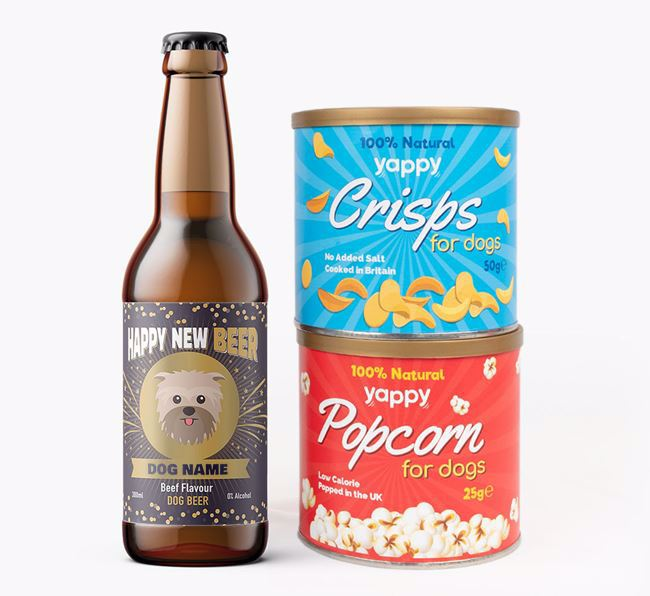 'Happy New Beer' - Personalised Affenpinscher Beer Bundle with Crisps & Popcorn