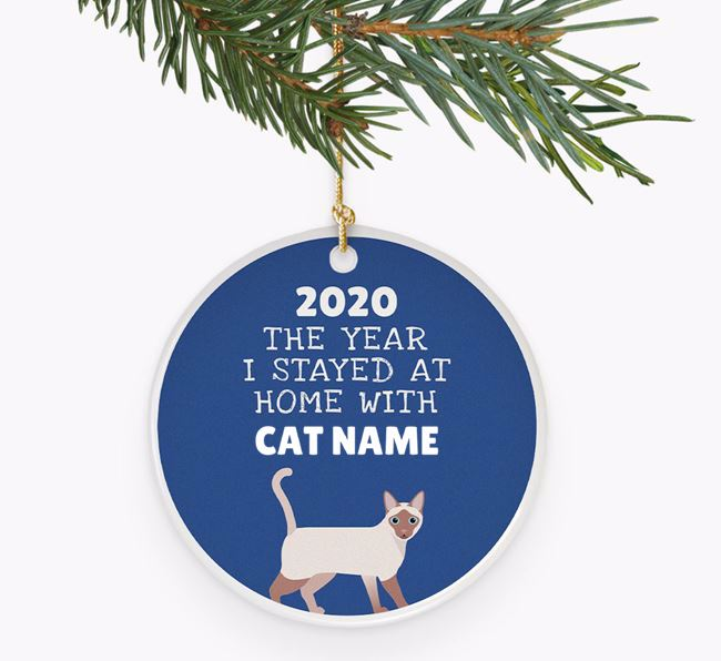 'Stayed at Home' - Personalised Siamese Ceramic Tree Decoration