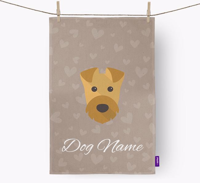 Personalised Airedale Hearts Dish Towel