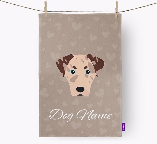 Personalised Leopard Cur Hearts Dish Towel