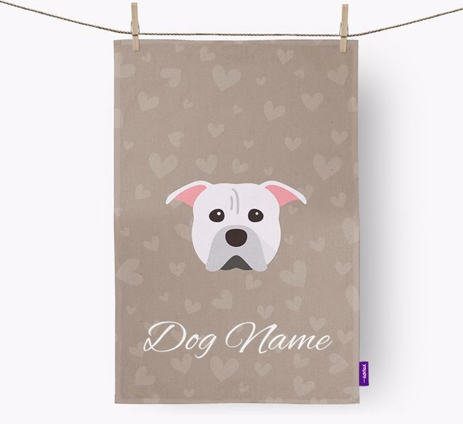 Personalised Pit Bull Terrier Hearts Dish Towel
