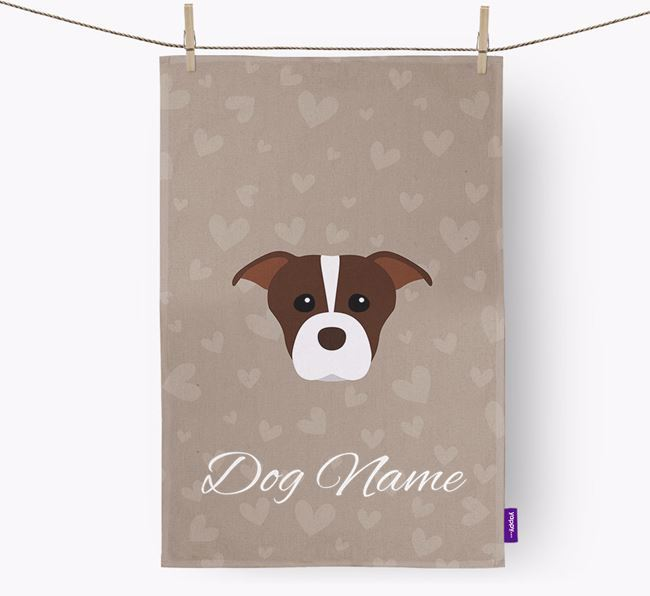 Personalised American Staffordshire Terrier Hearts Dish Towel