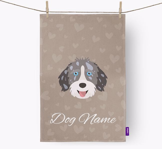 Personalised Aussiedoodle Hearts Dish Towel