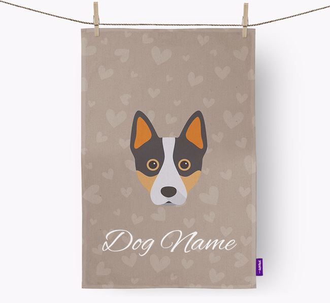 Personalised Cattle Dog Hearts Dish Towel