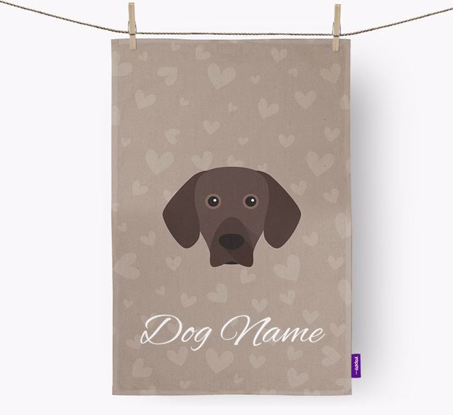 Personalised Mountain Hound Hearts Dish Towel