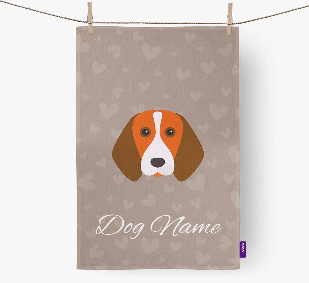 Beagle Hearts {colour} Tea Towel