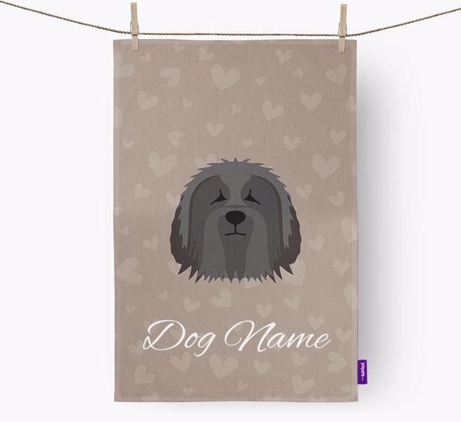Personalised Bearded Collie Hearts Dish Towel