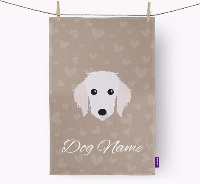 Personalised Bedlington Whippet Hearts Dish Towel