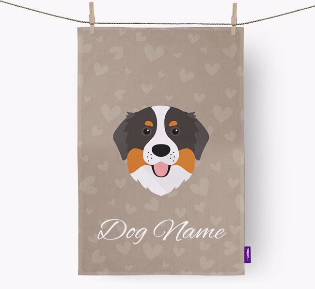 Personalised Bernese Hearts Dish Towel