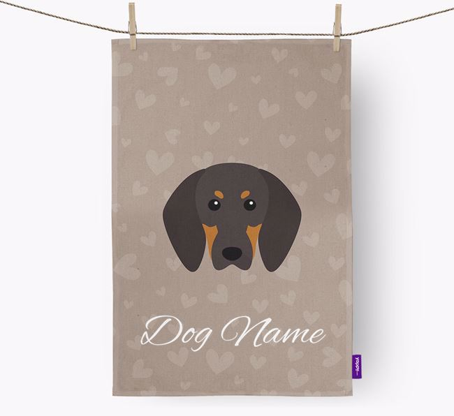 Personalised Coonhound Hearts Dish Towel