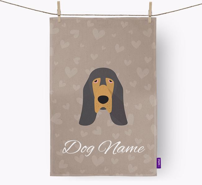 Personalised Bloodhound Hearts Dish Towel