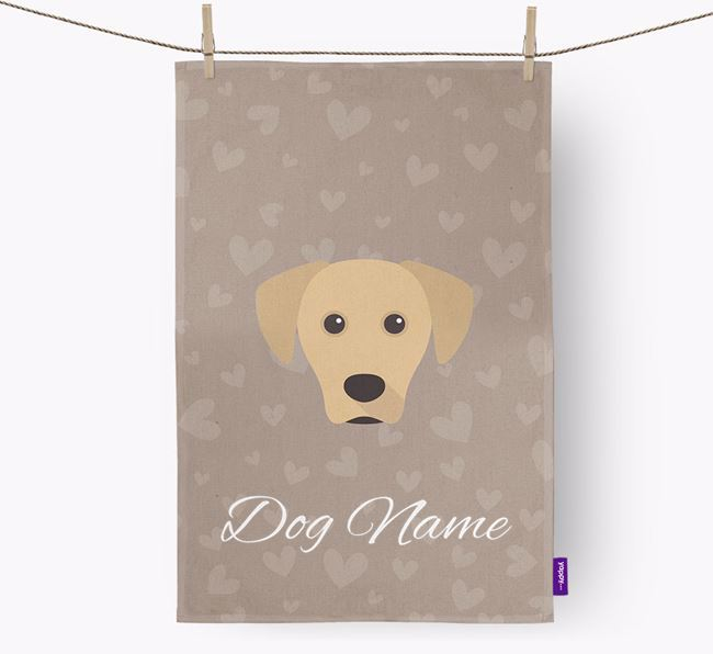 Personalised Blue Lacy Hearts Dish Towel