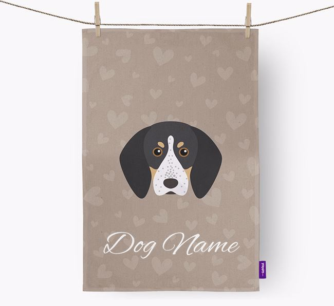 Personalised Bluetick Coonhound Hearts Dish Towel