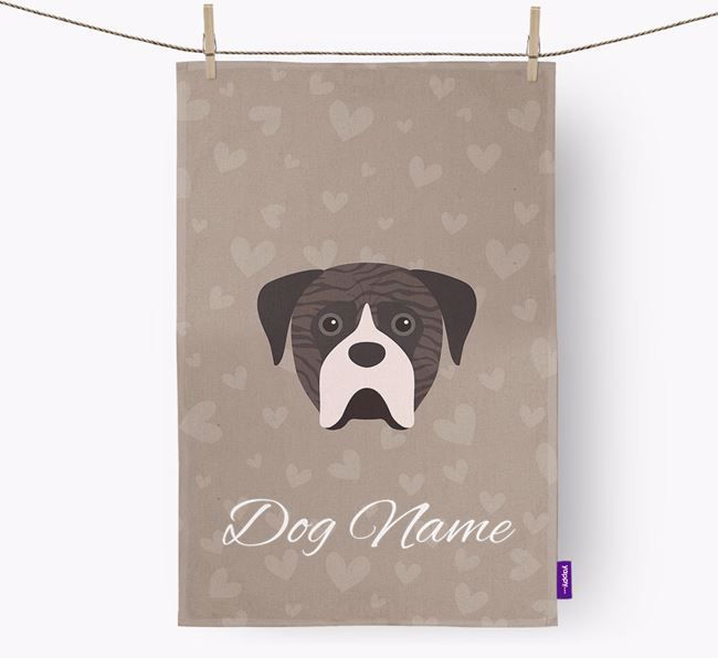Personalised Boerboel Hearts Dish Towel