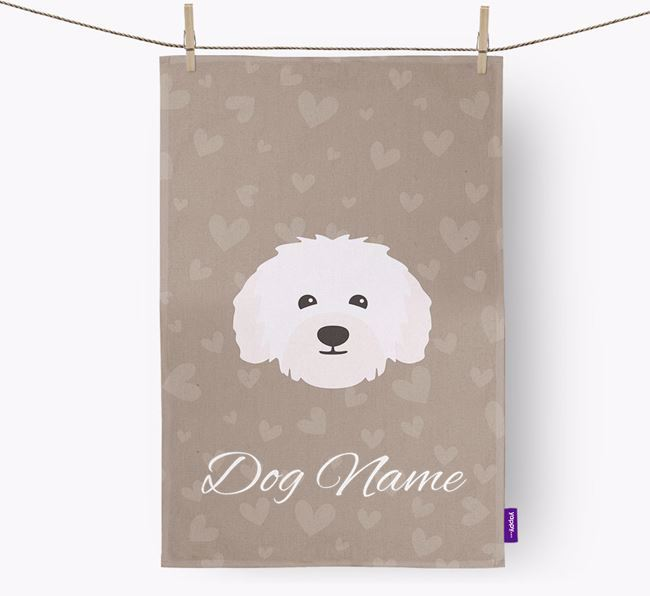 Personalised Bolognese Hearts Dish Towel