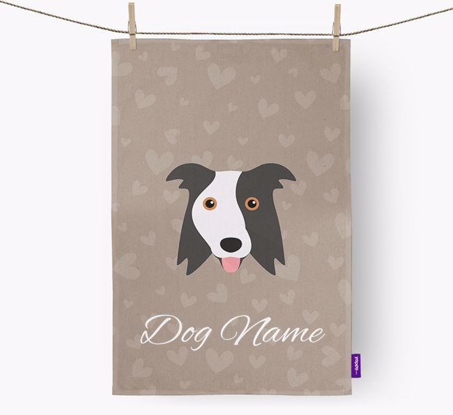 Personalised Border Collie Hearts Dish Towel
