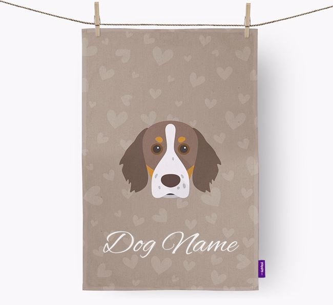 Personalised Brittany Spaniel Hearts Dish Towel