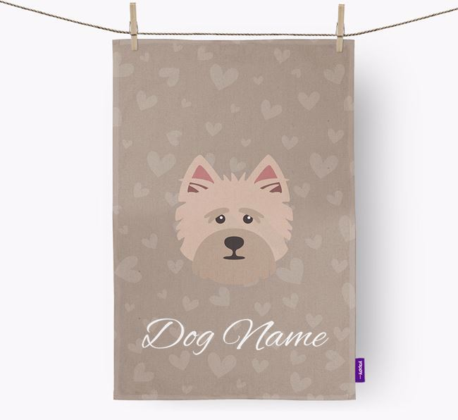 Personalised Cairn Terrier Hearts Dish Towel