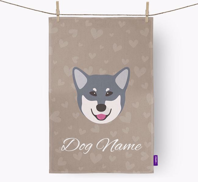 Personalised Eskimo Dog Hearts Dish Towel