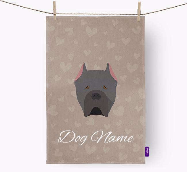 Personalised Cane Corso Hearts Dish Towel