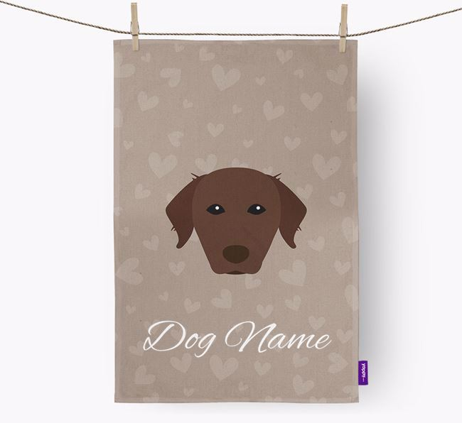 Personalised Chessie Hearts Dish Towel