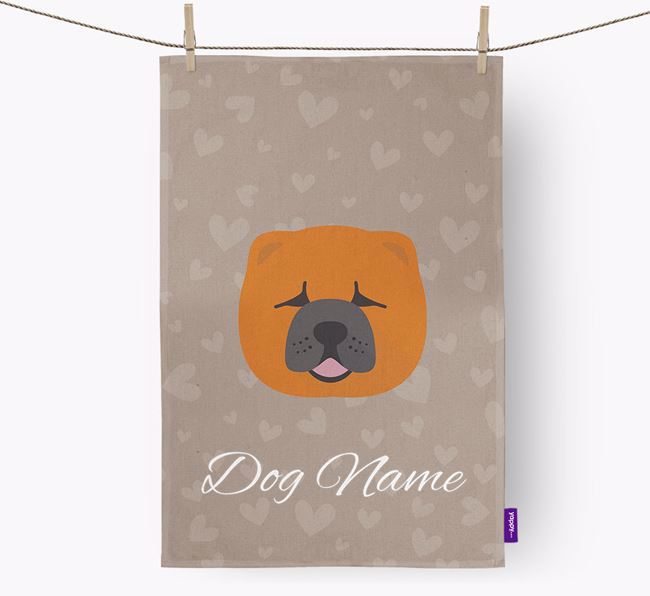 Personalised Chow Chow Hearts Dish Towel