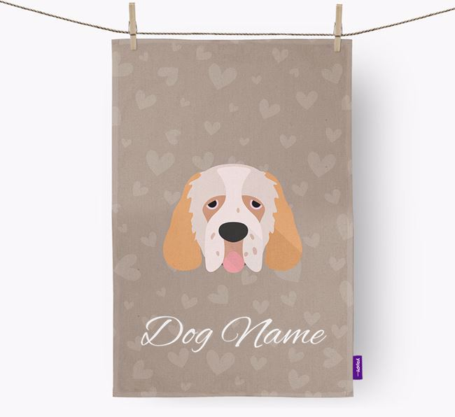 Personalised Clumber Spaniel Hearts Dish Towel