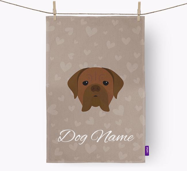 Personalised Dogue de Bordeaux Hearts Dish Towel