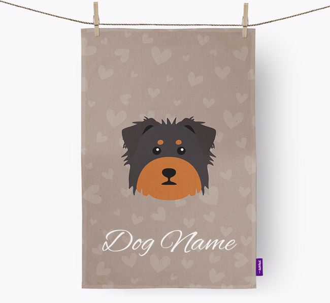 Personalised Dorkie Hearts Dish Towel