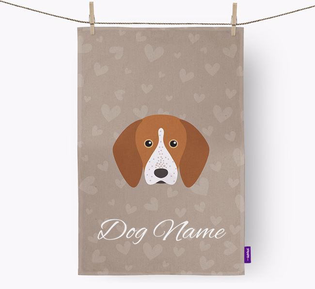 Personalised English Coonhound Hearts Dish Towel