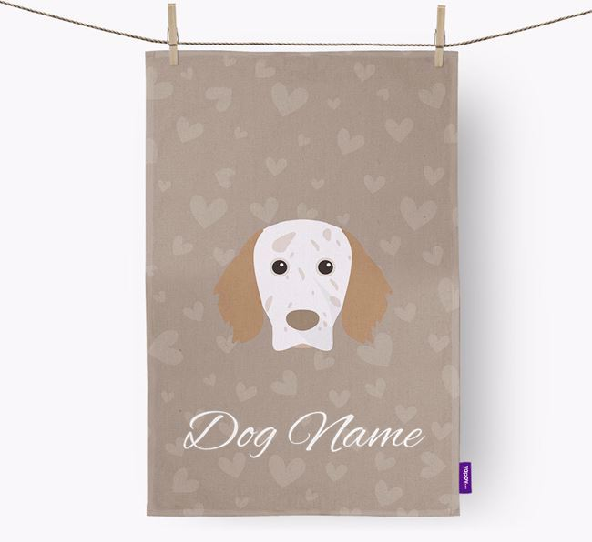 Personalised English Setter Hearts Dish Towel