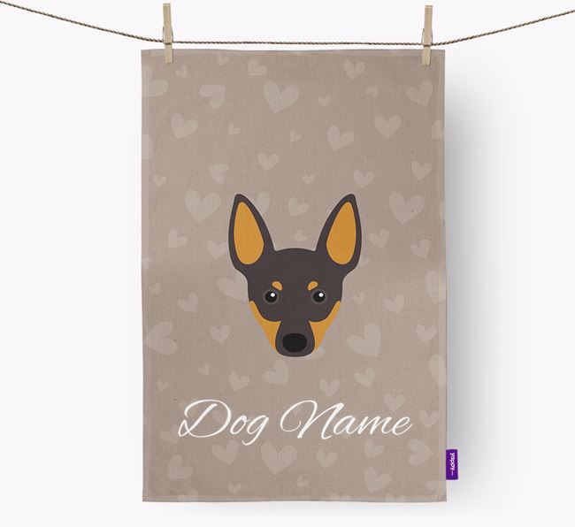 Personalised Toy Terrier Hearts Dish Towel
