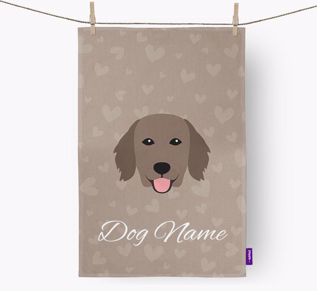 Personalised Flatcoat Hearts Dish Towel