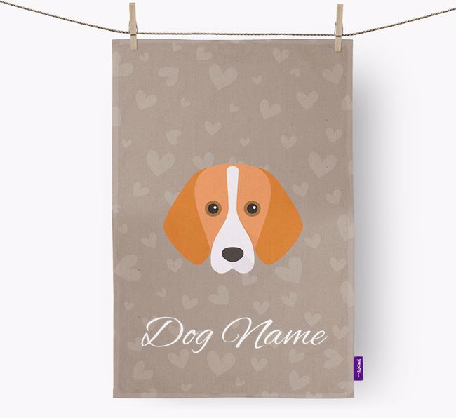Personalised Foxhound Hearts Tea Towel