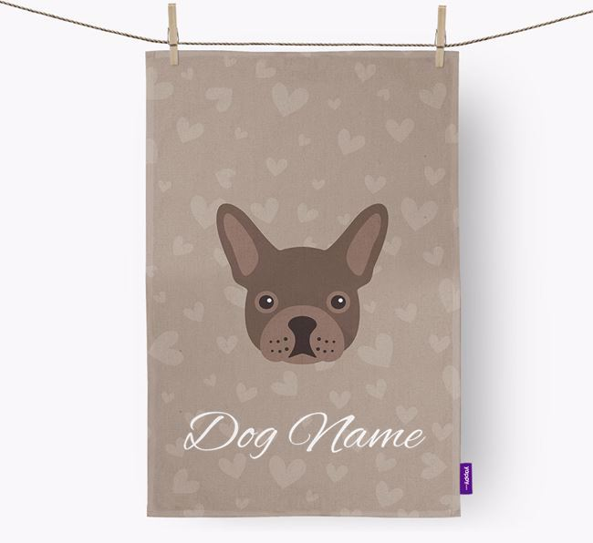 Personalised Frenchie Hearts Dish Towel
