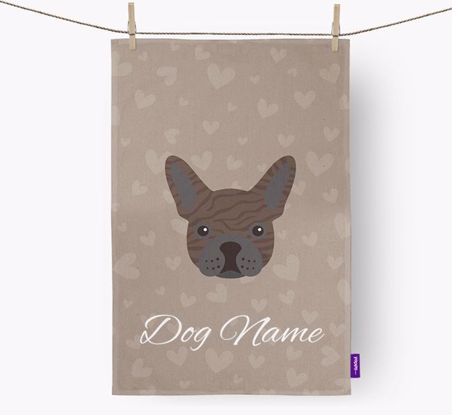 Personalised Frenchie Hearts Tea Towel