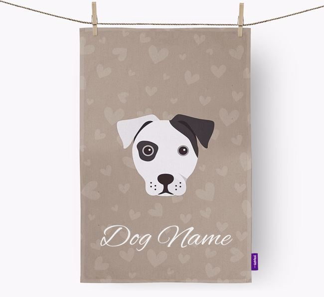 Personalised French Bull Jack Hearts Dish Towel