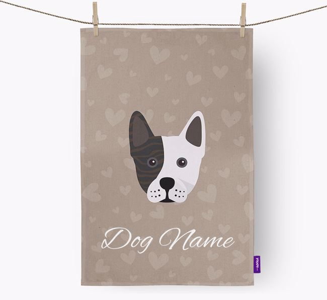 Personalised Frenchie Staff Hearts Dish Towel