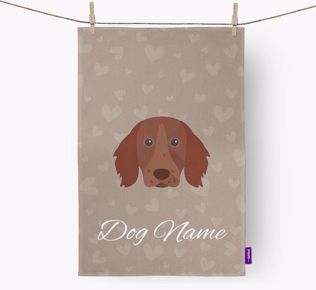 Personalised Longhaired Pointer Hearts Dish Towel