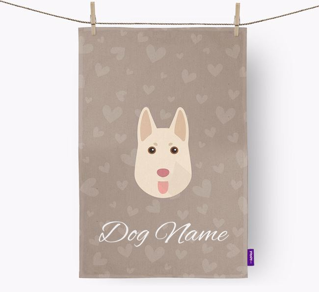 Personalised German Shepherd Hearts Dish Towel