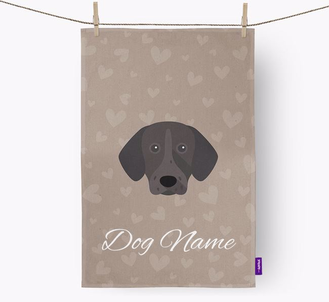 Personalised Shorthaired Pointer Hearts Dish Towel