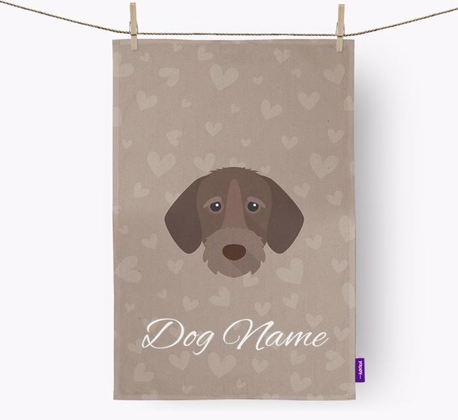 Personalised Wirehaired Pointer Hearts Dish Towel