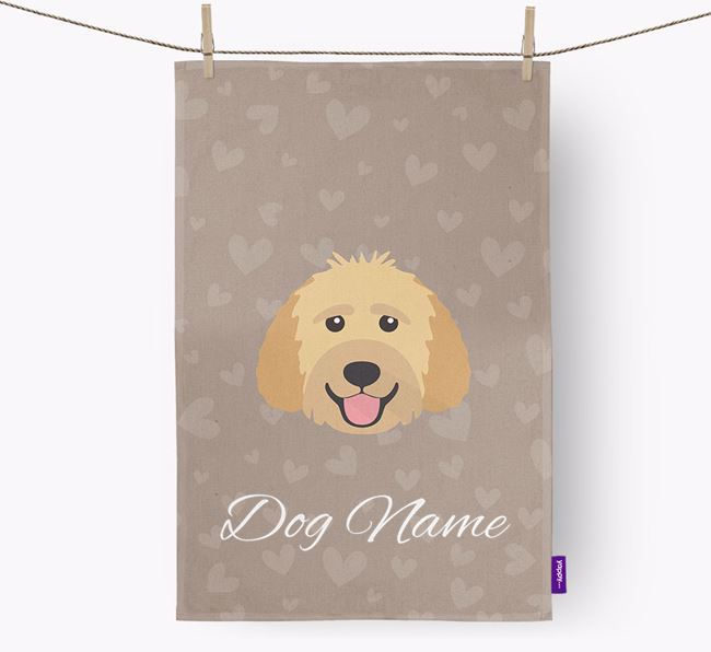 Personalised Goldendoodle Hearts Dish Towel