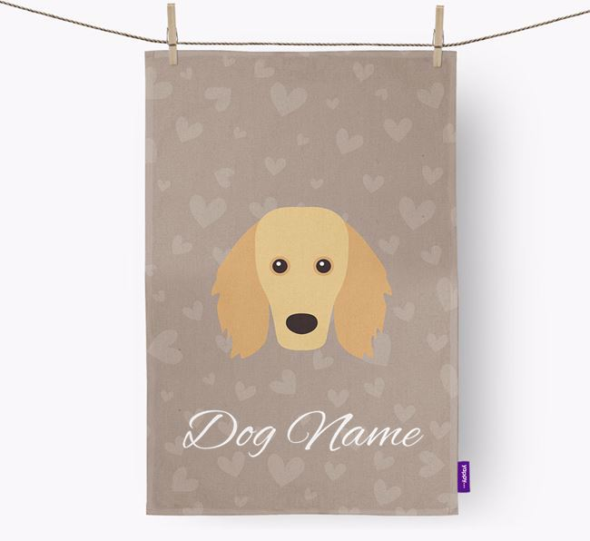 Personalised Golden Dox Hearts Dish Towel