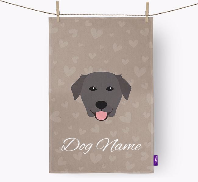 Personalised Golden Lab Hearts Dish Towel