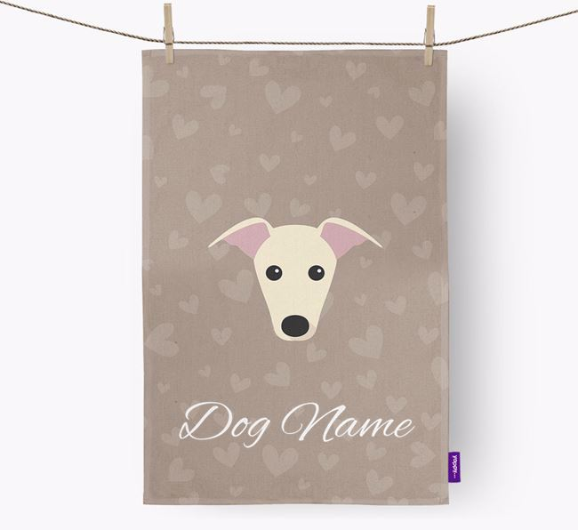Personalised Greyhound Hearts Dish Towel